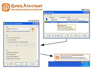 Screenshot of GmailAssistant in Windows XP